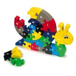 Puzzle bois alphabet multicolore