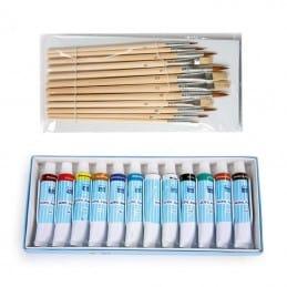 Kit de 12 peintures acrylique et pinceaux