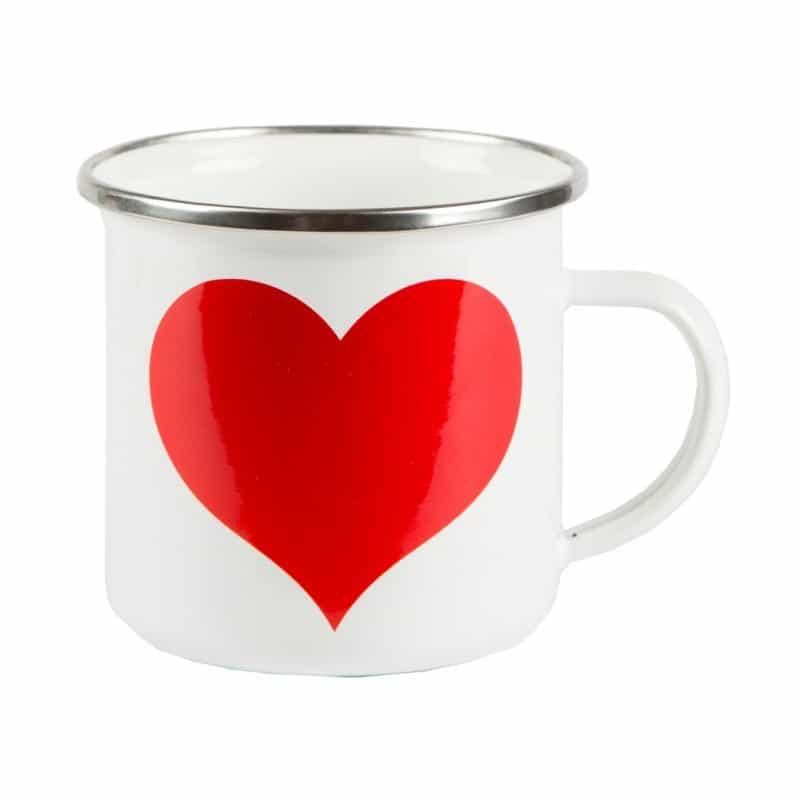 Mug coeur rouge émaillé
