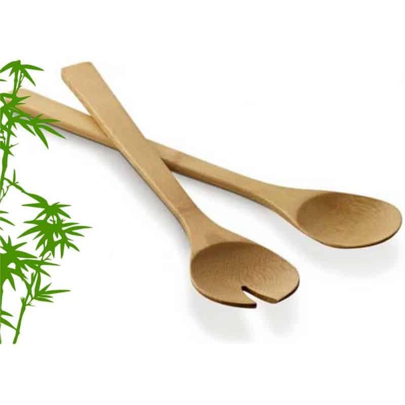 Couverts à salade en bambou