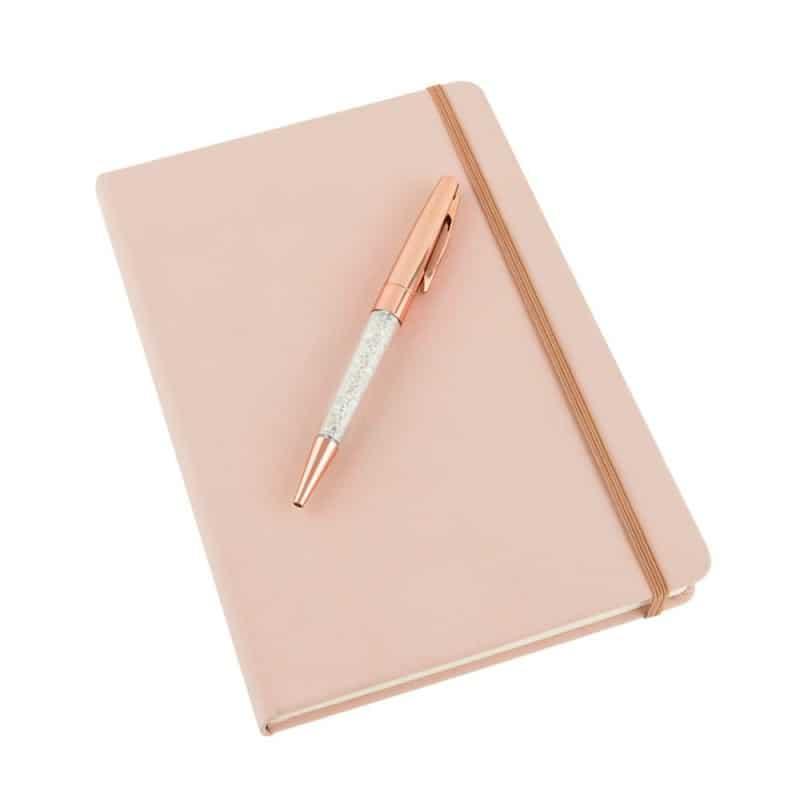 Coffret carnet de notes et stylo paillettes