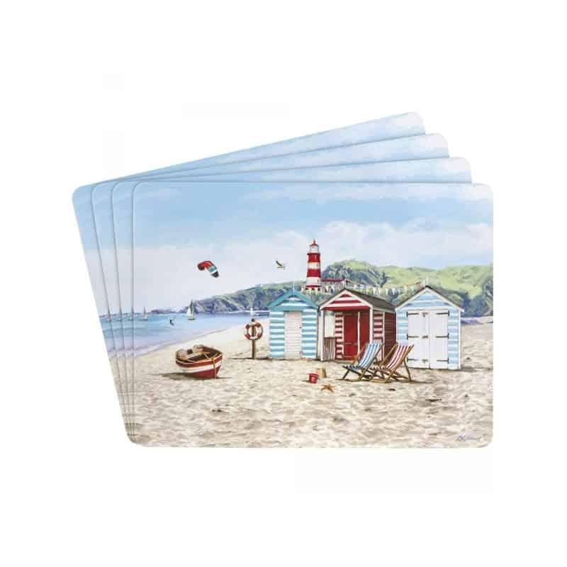 4 set de table décor plage bord de mer marin