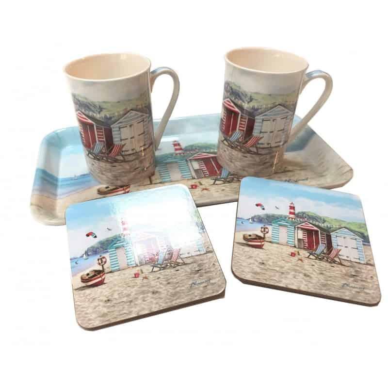 Coffret cadeau Bord de Mer, 2 mugs, sous-verre et plateau