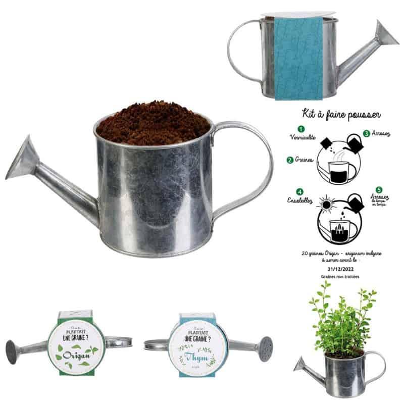 Kit à planter des graines dans arrosoir métal