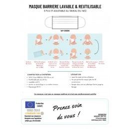 Masque GRAND PUBLIC anti-projection, lavable et réutilisable