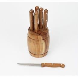 Tonneau en bois 6 couteaux à viande