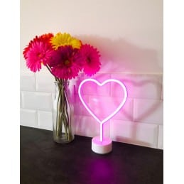 Lampe néon coeur rose