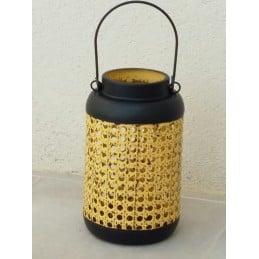 Lanterne métal noir et jaune vieilli