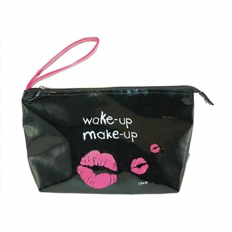 """Trousse Vinyle """"Wake up Make up"""" noire"""
